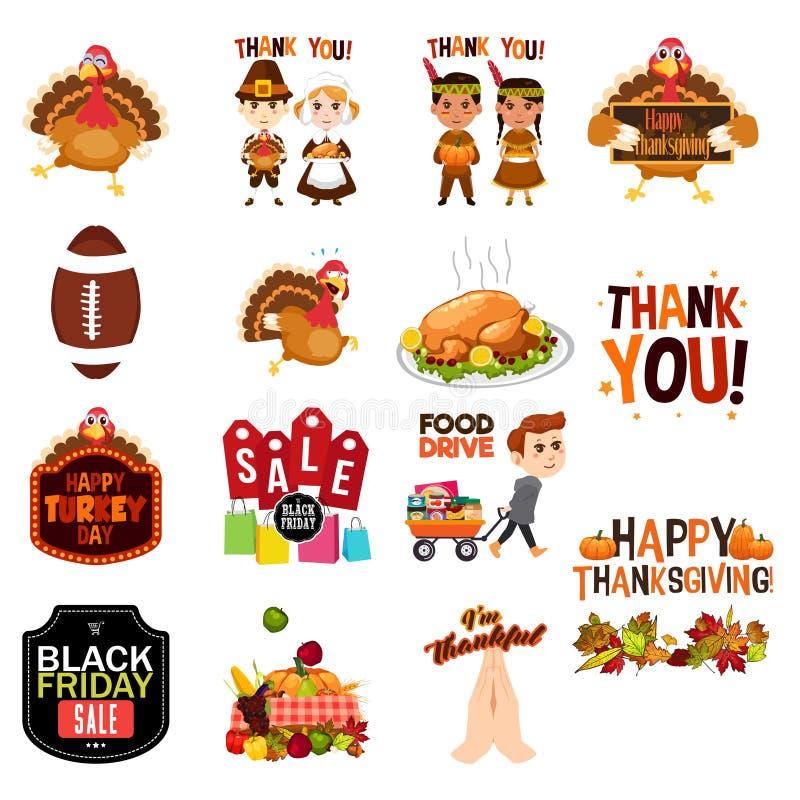 De Illustratiespictogrammen van dankzeggingscliparts royalty-vrije illustratie