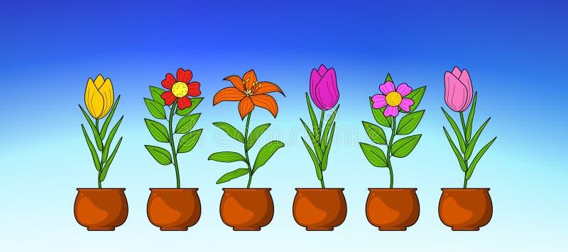 De Illustratievector van de bloeminzameling Blauwe hemelachtergrond royalty-vrije illustratie