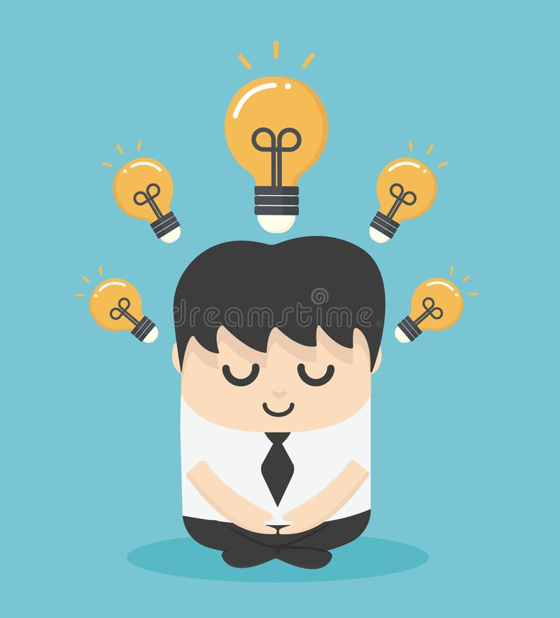De illustratiezakenman die meditatie doen en krijgt nieuw idee Bedrijfsideeconcept stock illustratie