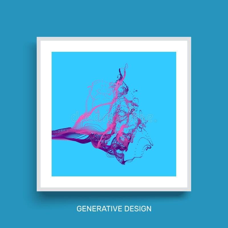 De Imitatie van de waterplons Het malplaatje van het dekkingsontwerp Generatief Art. Vector illustratie royalty-vrije illustratie