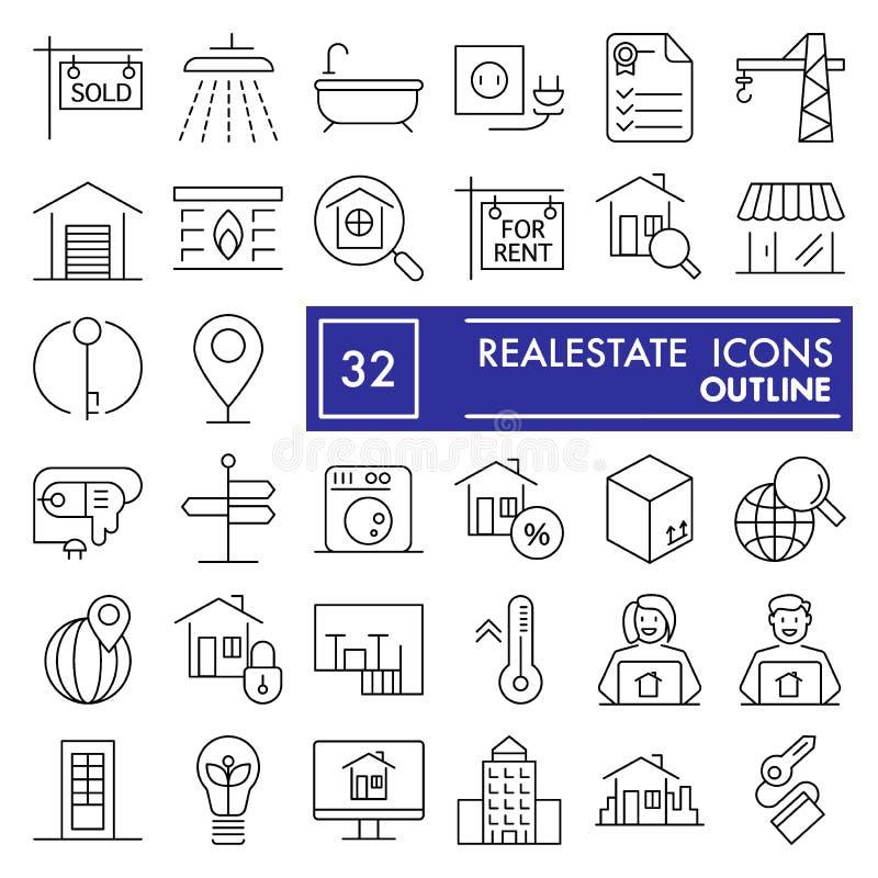 De immobiliën dunne reeks van het lijnpictogram, de inzameling van huissymbolen, vectorschetsen, embleemillustraties, huur ondert stock illustratie
