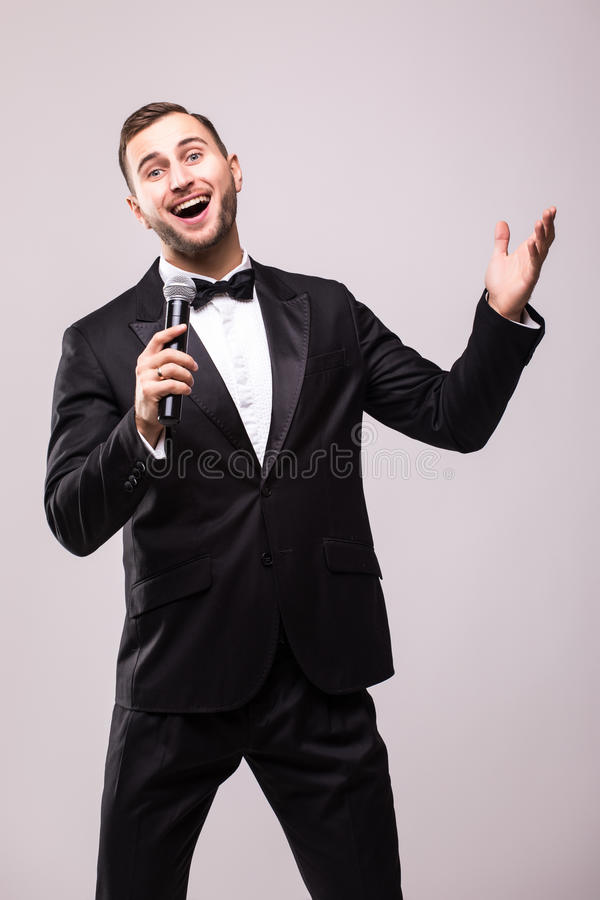 De Impresariointerviewer met emoties royalty-vrije stock foto