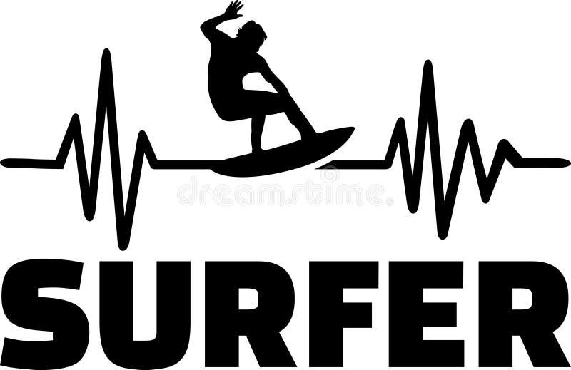 De impuls van de surferhartslag stock illustratie