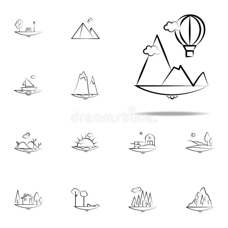 de impulspictogram van de bergwolk Voor Web wordt geplaatst dat en het mobiele algemene begrip van Landspacepictogrammen stock illustratie