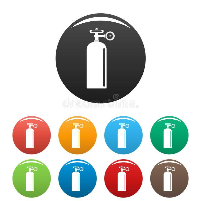 De impulspictogrammen van het gaslassen geplaatst kleur vector illustratie