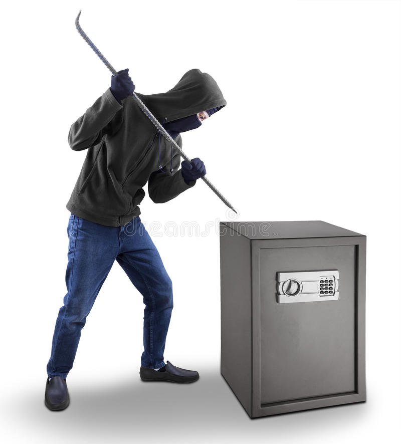 Download De Inbreker Probeert Om Een Veilige Stortingsdoos Te Openen Stock Afbeelding - Afbeelding bestaande uit misdaad, bandiet: 39101449
