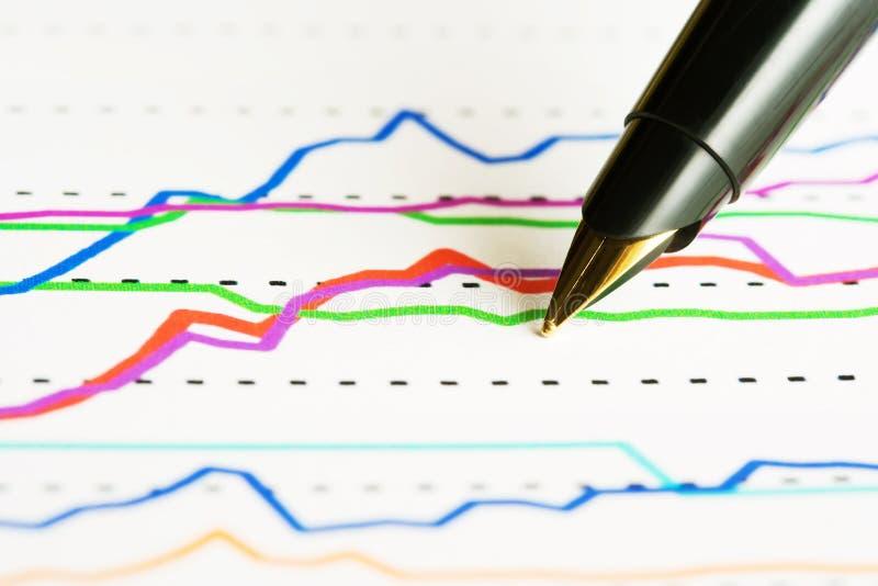 De index van de vulpen en van de voorraad. stock fotografie