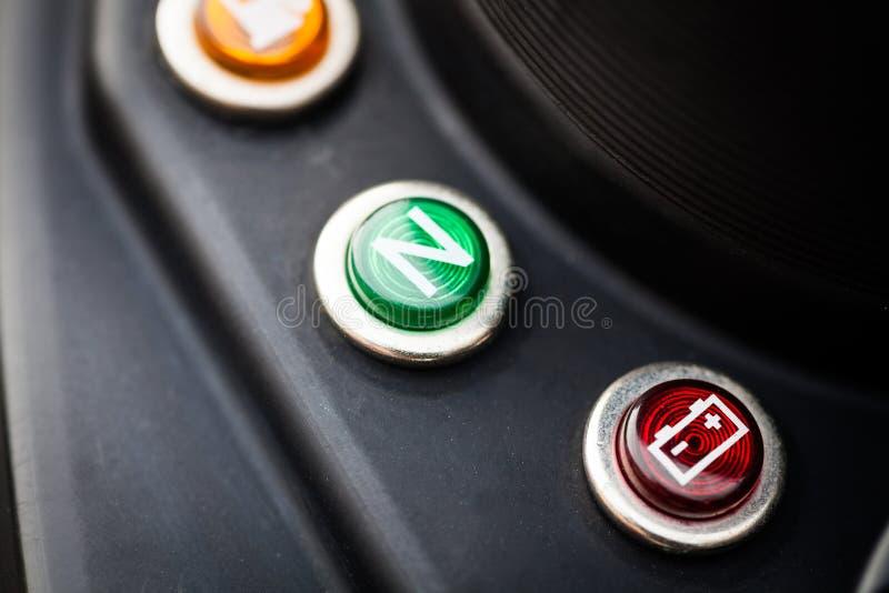 De indicator van de motorfietsbatterij stock foto's