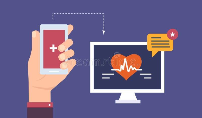 De indicator van het harttarief op mobiele telefoon, activiteit, de teller van de lichaamsimpuls stock illustratie