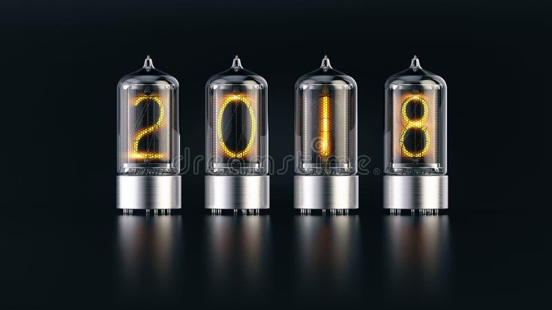 De indicator van de Nixiebuis met 2018 nieuwe jaaraantallen op donkere achtergrond stock illustratie