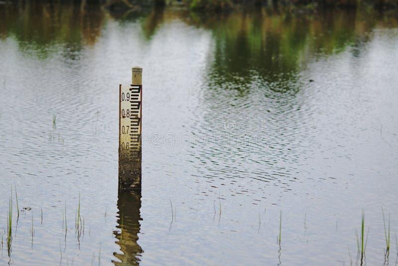 De indicator van de vloedwaterspiegel in water stock foto's