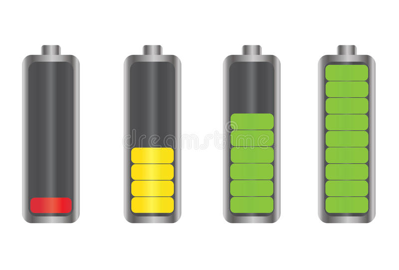 De Indicatorpictogrammen van de batterijenergie vector illustratie