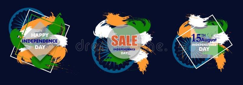 De Indische achtergrond van de Onafhankelijkheidsdag met Ashoka rijdt 15de augus vector illustratie