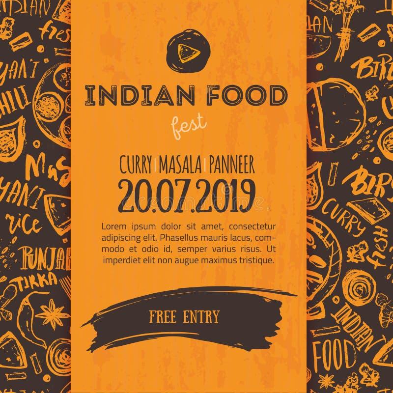 De Indische achtergrond van het Voedselmenu met het van letters voorzien Moderne Schetsvlieger voor koffie vector illustratie