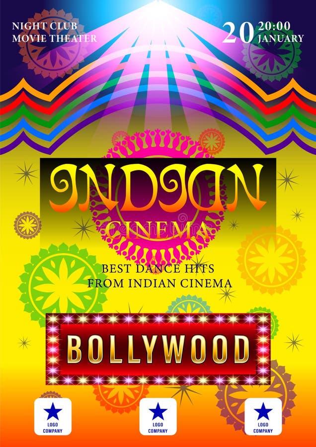 De Indische affiche van Bioskoopbollywood voor van de achtergrond nachtpartij ontwerp vector illustratie