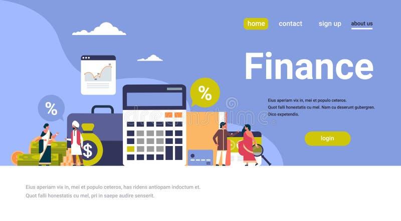 De Indische bedrijfsmensen financieren van de de analysecalculator van de concepten financieel grafiek van de het groepswerkgroei royalty-vrije illustratie