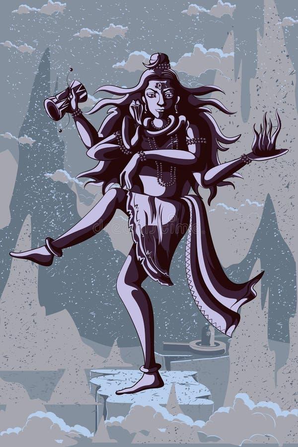 De Indische God Shiva die in Nataraja dansen stelt stock illustratie