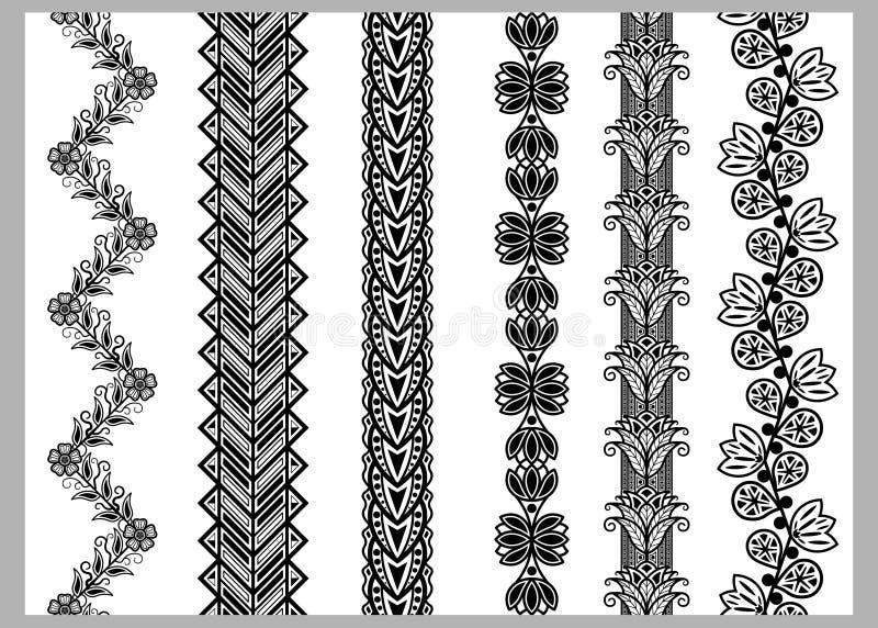 De Indische Henna Border-patronen van decoratieelementen in zwart-witte kleuren stock illustratie