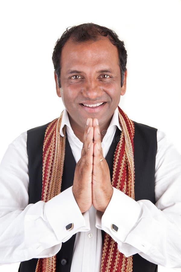 De Indische mens begroet royalty-vrije stock foto
