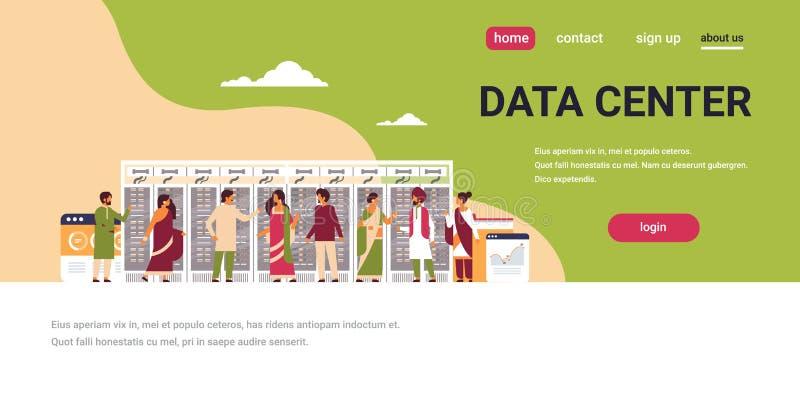 De Indische mensen die gegevens werken centreren van de de servercomputer van de conceptenruimte ontvangende van het de informati royalty-vrije illustratie