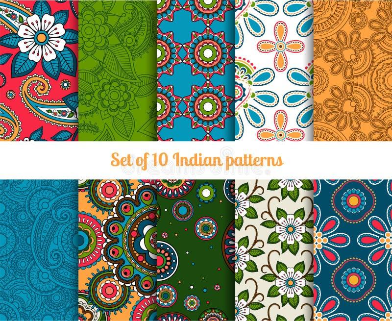 De Indische naadloze patronen van Paisley en van de bloem royalty-vrije illustratie