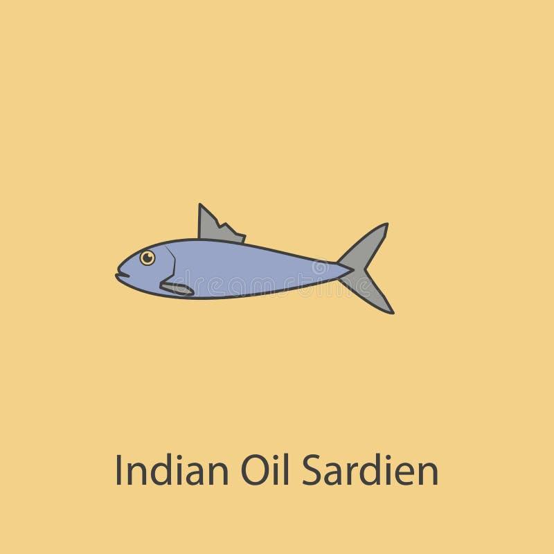 de Indische olie sardien 2 rassenbarrièrepictogram Eenvoudige purpere en grijze elementenillustratie de Indische olie sardien het stock illustratie
