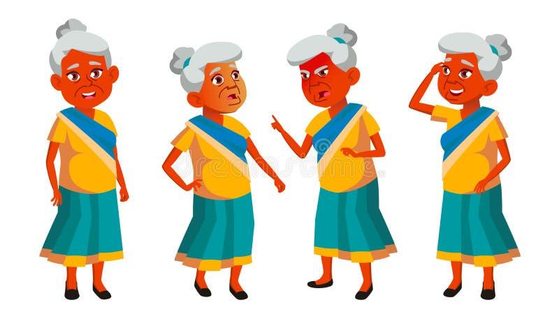 De Indische Oude Vrouw stelt Vastgestelde Vector Bejaarde mensen Hogere persoon oud Grappige Gepensioneerde leisure Aankondiging, vector illustratie
