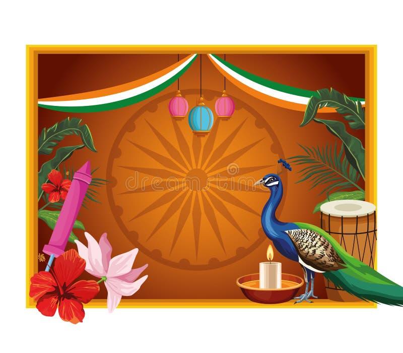 De Indische patriottische banner van de kaderkaart vector illustratie