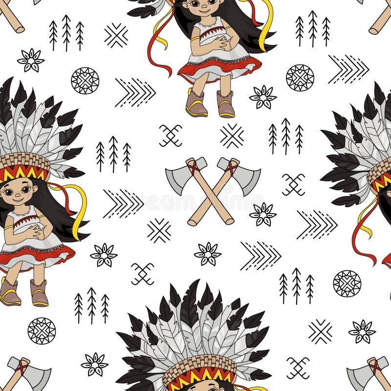 De Indische Prinses Seamless Pattern van Pocahontas van het TOMAHAWKmeisje royalty-vrije stock afbeelding