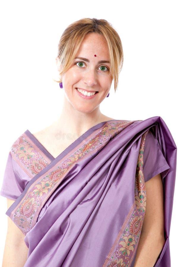 De Indische traditionele kleding van de vrouw stock foto
