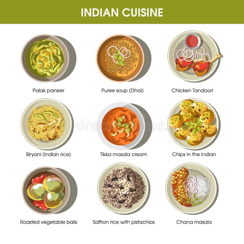 De Indische vector vlakke geplaatste pictogrammen van keuken traditionele schotels vector illustratie