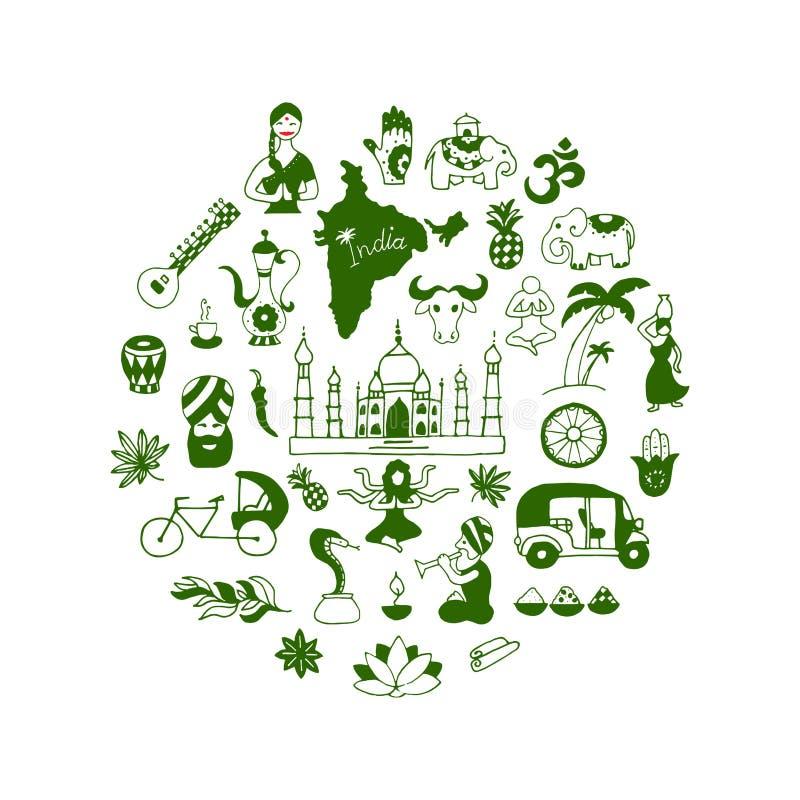 De Indische vectorreeks van de pictogrammencirkel royalty-vrije illustratie