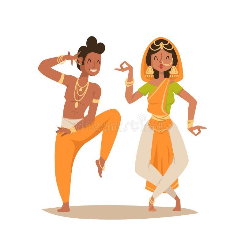 De Indische vrouwenman het dansen vector geïsoleerde van de pictogrammenmensen van het danserssilhouet dans van India toont parti vector illustratie