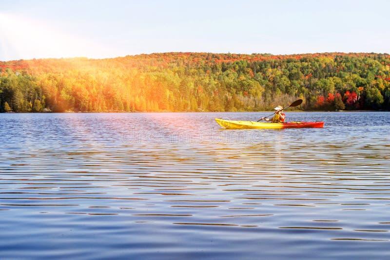 De Indische zomer bij een meer in Algonquin Provinciaal Park dichtbij Toronto in de herfst, Canada stock afbeeldingen
