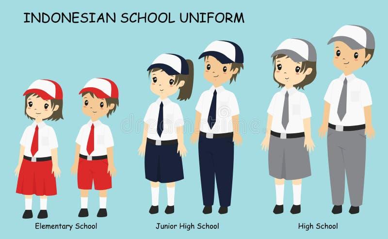 De Indonesische Vector van het Studenten Eenvormige Beeldverhaal stock illustratie