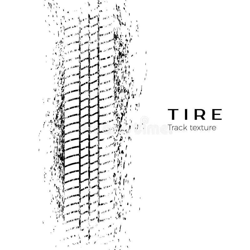 De indruk van het bandspoor Druk van een band in de modder Vector illustratie die op witte achtergrond wordt geïsoleerdd vector illustratie