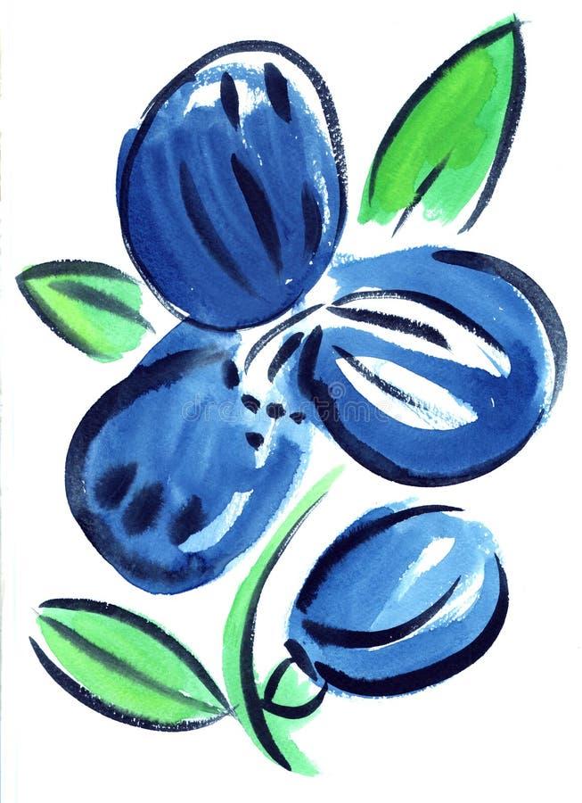 De indruk van waterverf het blauwe bloemen schilderen royalty-vrije illustratie