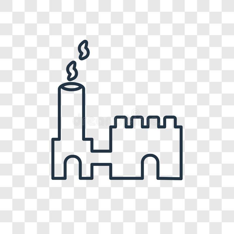 De industriële bouw concepten vector lineair die pictogram wordt geïsoleerd trans royalty-vrije illustratie