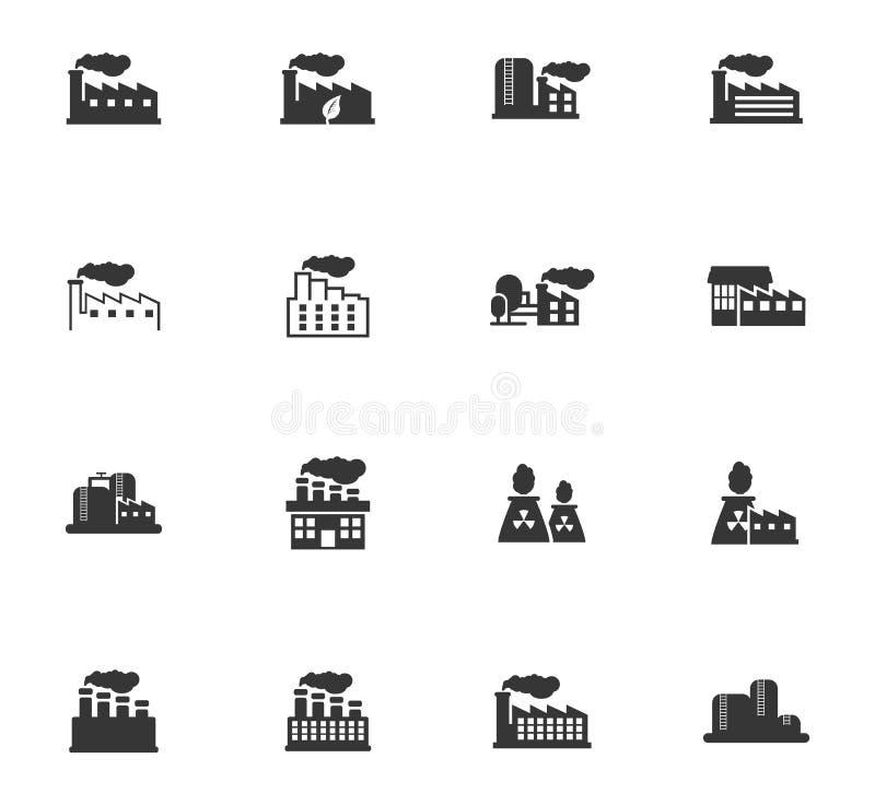 De industriële bouw fabriek en van het elektrische centralespictogram reeks royalty-vrije illustratie