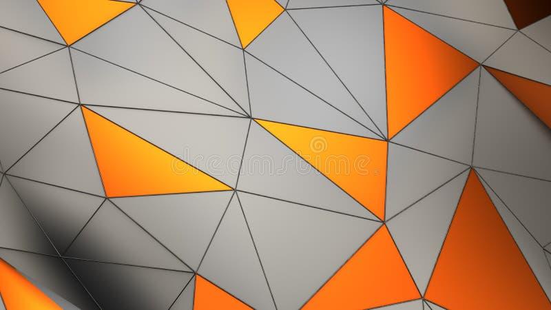 De industriële chroom en koper abstracte geometrische achtergrond van de metaalvlecht met 3d driehoeken geeft terug vector illustratie