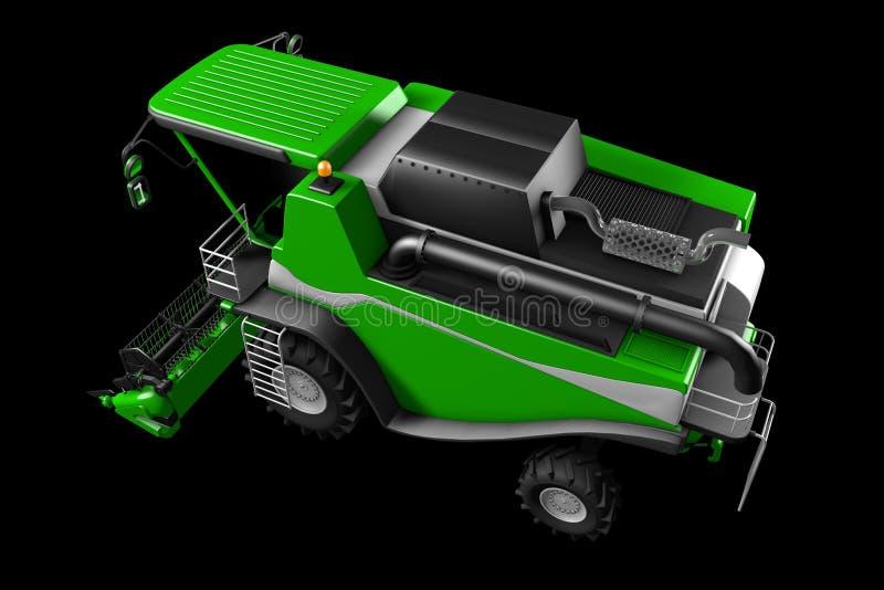 De industri?le 3D illustratie van grote moderne groene die tarwe landbouw maaidorser zijaanzicht op zwarte wordt ge?soleerd vector illustratie