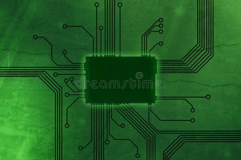 De industriële Groene Gekleurde kern van de digitale computerspaander royalty-vrije illustratie