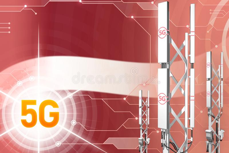 De industriële illustratie van Letland 5G, grote mobiel netwerkmast of toren op hi-tech achtergrond met de vlag - 3D Illustratie royalty-vrije stock foto
