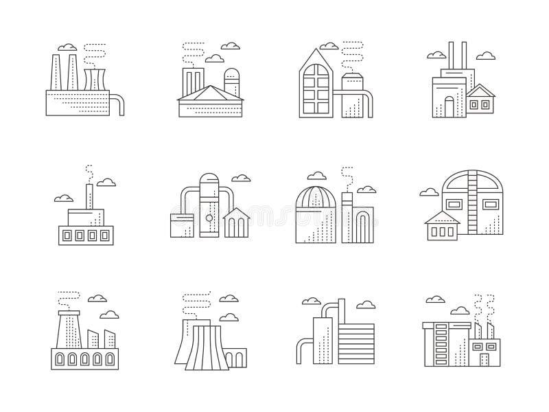 De industriële pictogrammen van de architectuur vlakke lijn royalty-vrije illustratie