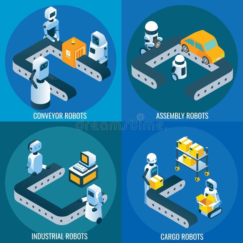 De industriële reeks van de robotica vector isometrische affiche vector illustratie