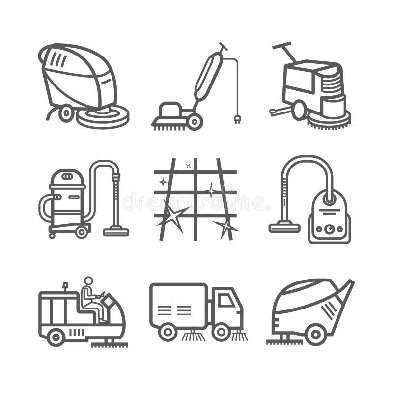 De industriële Schoonmakende Dienst Arbeider Vacuümgaszuiveraar Vegermachines De dunne reeks van het lijnpictogram Vector illustr royalty-vrije illustratie