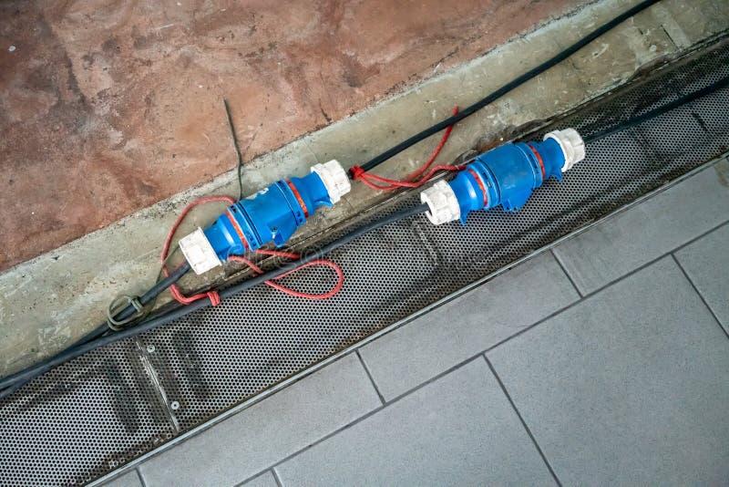De industriële stoppen van de stroomveiligheid in de bouwbouw royalty-vrije stock foto