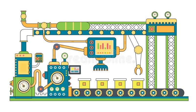 De industriële vlakke vectorillustratie van de transportbandlijn Abstracte de machineproductie van het transportbandproces stock illustratie