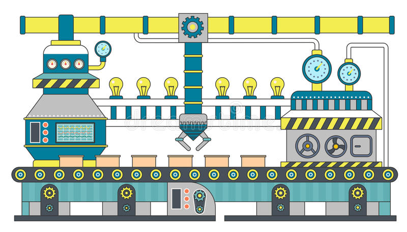 De industriële vlakke vectorillustratie van de transportbandlijn De productie van het transportbandproces, transportband met mach royalty-vrije illustratie
