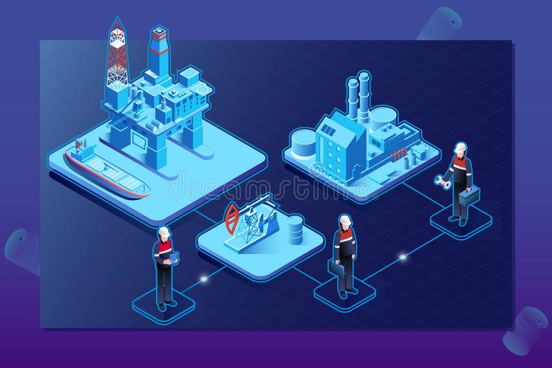 De industrie isometrisch stroomschema van de gasolie met van het de installatieplatform van de zeeboringsextractie de opslagtank  royalty-vrije illustratie
